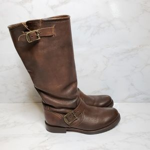 Frye Veronica Sloutch Tall Brown Leather Boots